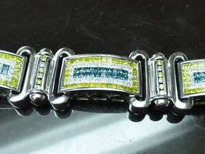 45,000 MENS 15 CT W/GOLD DIAMOND BRACELET CANARY BLUE