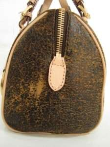 GRAYSON SMALL Distressed Mocha LEATHER SATCHEL BAG PURSE $298