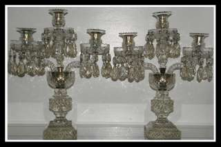 Unusual Pair of Antique Irish Cut Glass Crystal Candelabra NR