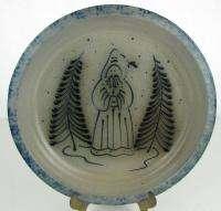 Eldre Pottery Blue Salt Glaze Christmas Plate 1989 |