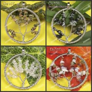 Wholesale Wire Wrap Gemstone Chip Tree Pendant Bead Ds107 227