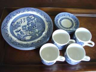 12 pc Churchill Blue Willow English Dishes Blue White Plates Cups