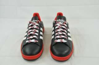 ADIDAS 016877 CAMPUS 2 BLACK RED SOLE WHITE STRIPES Sz 9 (6632)