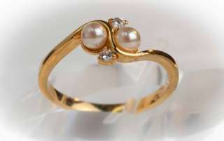 18KT Gold Plated Simulated Pearl Womens Ring   R11
