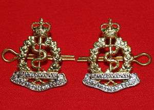 Royal Canadian Army Medical Corps Brass Collar Badges