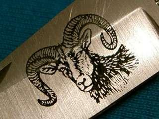 PARKER IMAI K116 STAG BIG HORN SHEEP ETCH FOLDING HUNTER BOWIE KNIFE