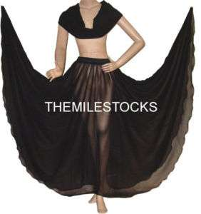 TMS BLACK Skirt Veil Belly Dance TRIBAL Costume Dress