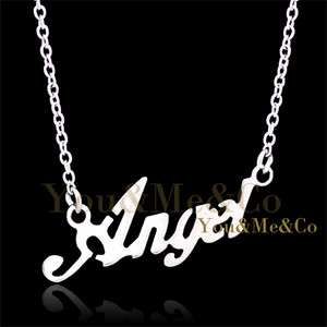 18K White Gold EP Angel Words Pendant Necklace