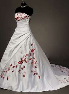 New Charm Hot Sale White and Red Bride Bridal Gown Wedding Dress Stock