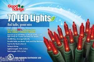 GOOD TIDINGS 20103 70ct ULTIMATE RED LED CHRISTMAS LIGHT SET 0153858