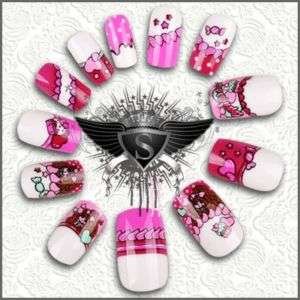 V416 Super Cute Girl Sweet Love 24pcs False Nail