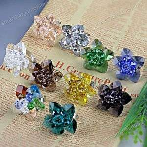 1PC Crystal Glass Faceted Flower Beads Adjustable Fashion Finger Ring