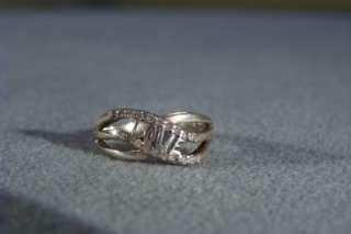 WOW ANTIQUE STERLING SILVER 20 DIAMOND LOVE FANCY WEDDING BAND RING 7