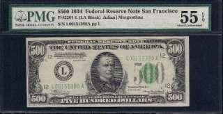 KD 34 $500 Five Hundred Dollar Bill L151380 PMG AU 55 EPQ Federal
