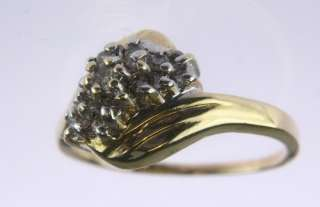 LADIES 14K SOLID GOLD DIAMOND COCKTAIL CLUSTER RING