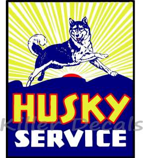 24 HUSKY SERVICE GASOLINE DECAL GAS AND OIL GAS PUMP SIGN, WALL ART