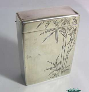 Fine Japanese 950 Sterling Silver Bamboo Cigarette Case Japan Ca 1900