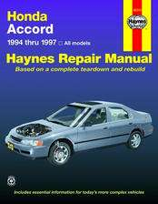 Honda Accord Haynes Repair Manual covering all models from 1994 thru