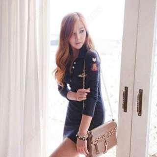Fashion Womens Slim V Collar Long Sleeve Bottoming Mini Dress