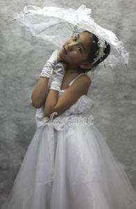 White Rosette Pageant Wedding Flower Girls Dress Party Gown Size 6 Age