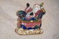 Avon Porcelain Trinket Box Santa and Sleigh 2002 NIB