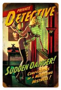 Private Detective sexy pin up girl vintaged metal sign