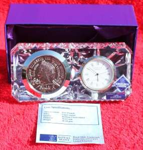 2000 QUEEN MOTHER CROWN EDINBURGH CRYSTAL COIN & CLOCK