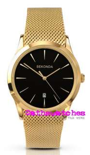 Slim Gold Plated Mesh Bracelet Watch Black or Champagne Dial