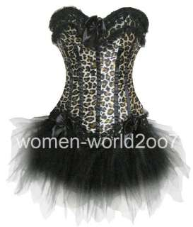 Animal Print Corset/Lace up/Skirt/Gstring Dress 6168