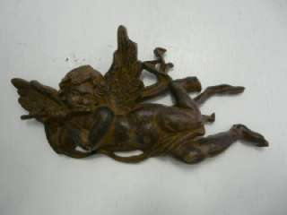 Wall Hanging Cast Iron Flying Cherub Playing Flute