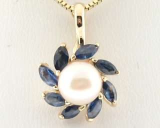 Cultured Pearl Natural Blue Sapphires Solid 14k Yellow Gold Pendant