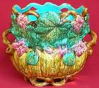 RARE ANTIQUE FRENCH ONNAING MAJOLICA KINGFISHER CACHE POT C 1880
