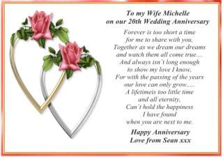 Wedding anniversary wishes for husband personalised 20th personalised 20th anniversary card for husband or wife m4hsunfo