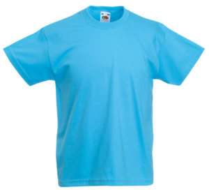 FRUIT OF THE LOOM PLAIN SKY BLUE CHILDS T SHIRT AGE1 15