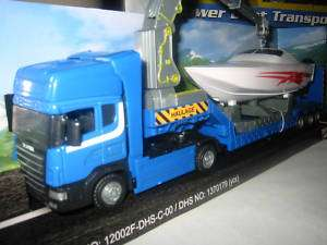 DIE CAST SCANIA TRUCK POWERBOAT TRANSPORTER+CRANE ARM