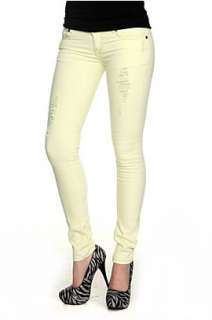 Machine Yellow Green Distressed Skinny Jeans   945547