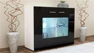 Buffet laqué noir blanc armoire de rangement vitrine meuble