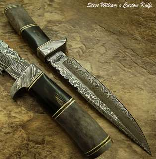 Steve William RARE CUSTOM DAMASCUS BOWIE KNIFE  FOSSIL GIRAFFE & BULL