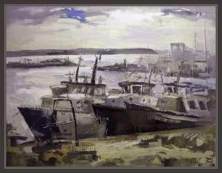 cuadros paisaje pintor ernest descals puerto de vilanova i la geltru