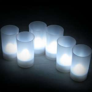 LEC006W 6 Bougies LED à piles avec Bougeoirs   Piles Incluses   Blanc