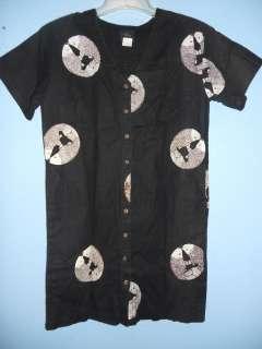 Ladies Vintage Sig Zane Oriental Fish Black Dress S #9702