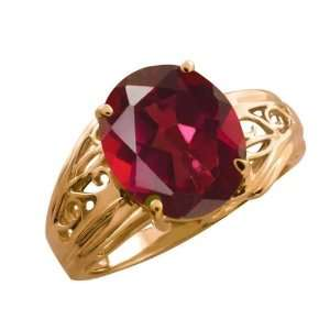 4.15 Ct Oval Ruby Red Mystic Quartz 14k Rose Gold Ring Jewelry
