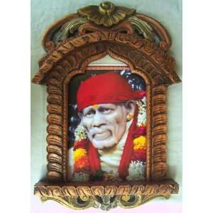 Lord Sai Baba Poster Painting in Wood Crafts Jarokha