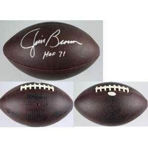 Autographed Jim Brown Football   Throwback Duke JSA   Autographed