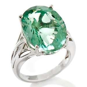 11.80ct Oval Green Fluorite Sterling Silver Solitaire Ring