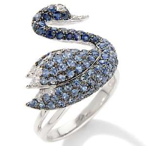 Perez 1.69ct Sapphire and Diamond 14K White Gold Swan Ring