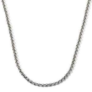 Steel Designs Round Rolo Link Chain Stainless Steel Necklace