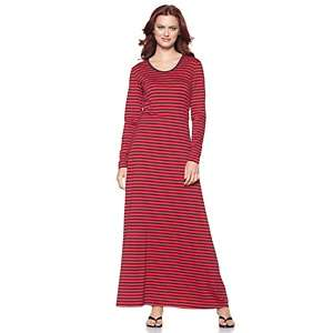 DG2 Striped Jersey Long Sleeve Maxi Dress