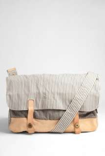 Paul Smith Accessories  Ecru Striped Canvas Washed Messenger by Paul