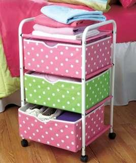 Tier Rolling Pink & Green Polka Dot Storage Cart Space Saver Nursury